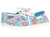 Sanuk Pair O Sail Prints Aqua Waikiki Floral Women's Lace Up Casual Shoes Blue