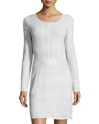 Neiman Marcus Long Sleeve Cable Knit Sheath Dress Light Gray