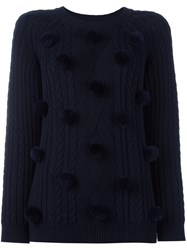 Chinti And Parker 'Aran' Pom Pom Sweater Blue