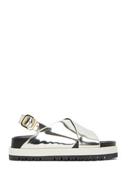 Marni Metallic Cross Over Strap Sandals Silver