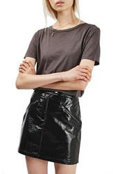 Topshop Women's Slick Coated Miniskirt