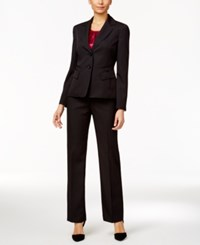 Le Suit Three Piece Two Button Pinstriped Pantsuit Black Fuchsia