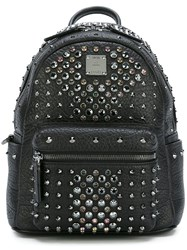 Mcm Small Studded Backpack Black