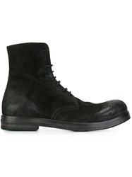 Marsell Round Toe Lace Up Boots Black