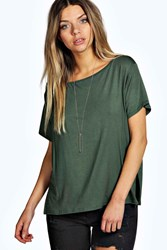 Boohoo Slash Neck Oversized Tee Khaki