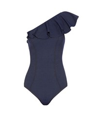 Lisa Marie Fernandez Arden Flounce Denim Swimsuit