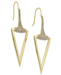 Abs By Allen Schwartz Gold Tone Pave Accented Polished Triangle Drop Earrings