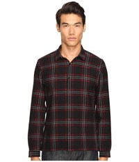 The Kooples Heavy Seersucker Checks Shirt Red Men's Long Sleeve Button Up