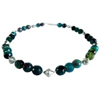 Chen Fuchs Jewelry Beaded Agate Gemstone Necklace Silver