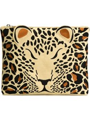 Charlotte Olympia 'Feral Leopard' Clutch Nude And Neutrals