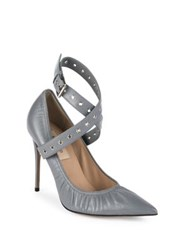 Valentino Love Latch Grommeted Leather Ankle Wrap Pumps Stone Black