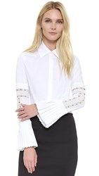 Yigal Azrouel Bell Sleeve Button Up Blouse White