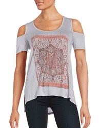 Jessica Simpson Lorani Graphic Print Cap Sleeve Cold Shoulder Tee Medallion