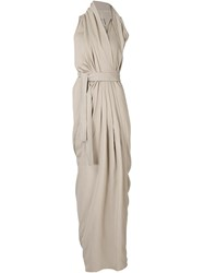 Rick Owens Draped Maxi Dress Nude And Neutrals