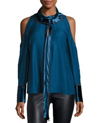Peter Pilotto Satin Mock Neck Cold Shoulder Top Blue