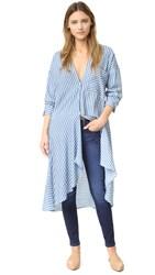 Shakuhachi Striped Wrap Dress Stripe Blue White