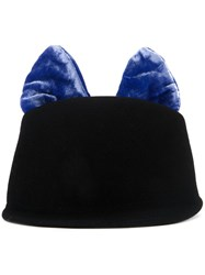 Federica Moretti Contrast Cat Ears Hat Black