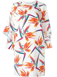 Fendi Bird Of Paradise Flower Print Dress White