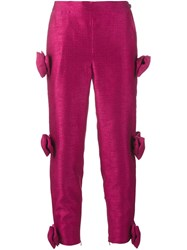 Ashish Bow Embellished Cropped Trousers Pink And Purple
