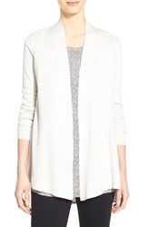 Women's Eileen Fisher Lightweight Silk And Organic Cotton Straight Long Cardigan Bone