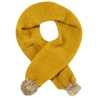 White Stuff Rennie Fur Pom Pom Scarf Yellow