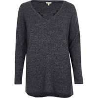 River Island Womens Navy Blue Knit Top With Lace Detail
