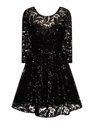 Chi Chi London Sequin Lace Skater Party Dress Black