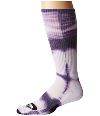 Nike Tie Dye Dri Fit Skate Crew White Ink Black Crew Cut Socks Shoes Purple