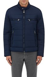 Barneys New York Men's Channel Quilted Moto Jacket Blue