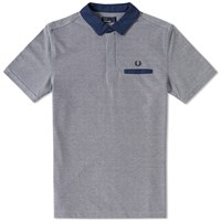Fred Perry Oxford Trim Collar Polo Blue