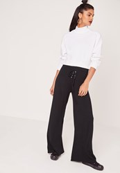 Missguided Eyelet Lace Up Jersey Wide Leg Trousers Black Black