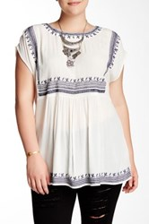 Halo Embroidered Blouse Plus Size White