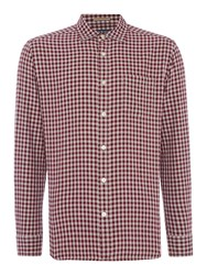 Howick Men's Glendale Gingham Long Sleeve Shirt Maroon