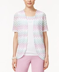 Alfred Dunner Knit Layered Look Top Mint Rose