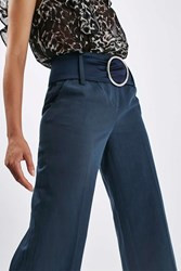 Boutique Belted Cropped Trousers By Navy Blue