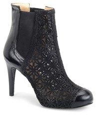 Carmen Marc Valvo Calzature Agava Leather And Mesh Heeled Booties Black Leather