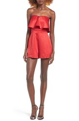 J.O.A. Women's Ruffle Strapless Romper Red