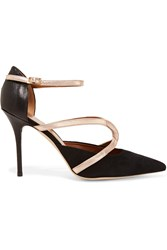 Malone Souliers Veronica Suede Leather And Snake Pumps Black