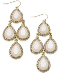 Inc International Concepts Gold Tone White Stone And Pave Chandelier Earrings Only At Macy's