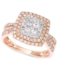 Effy Collection Pave Rose By Effy Diamond Square Ring In 14K White And 14K Rose Gold 3 4 Ct. T.W.