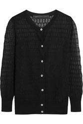 Marc By Marc Jacobs Rose Open Knit Cotton Blend Cardigan Black
