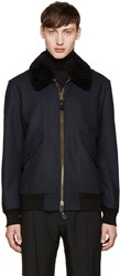Burberry Navy Aviator Jacket