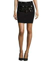 Versace Wool Blend Mini Skirt With Buckle Accents