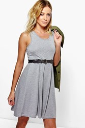 Boohoo Scoop Neck Sleeveless Skater Dress Grey