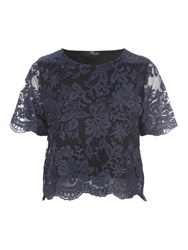 Jane Norman Scalloped Lace Co Ord Top Navy