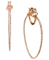 Sis By Simone I Smith 18K Rose Gold Over Sterling Silver Earrings Crystal In And Out Hoop Earrings