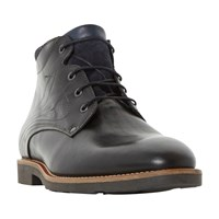 Bertie Chord Corduroy Collar Lace Up Boot Black