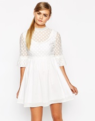 Dahlia Victoriana Dress With Bell Sleeve White