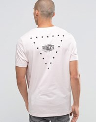 Asos Longline T Shirt With Stars Print In Relaxed Fit Barely Pink
