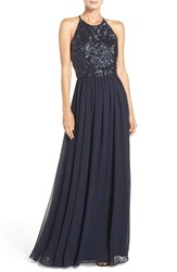 Vera Wang Women's Cutout Back Sequin And Chiffon Gown